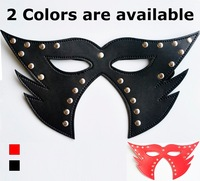 2 pcs Black Red leather sex mask for sexy Cat women couples adult flirting roleplaying game Halloween costume night club party