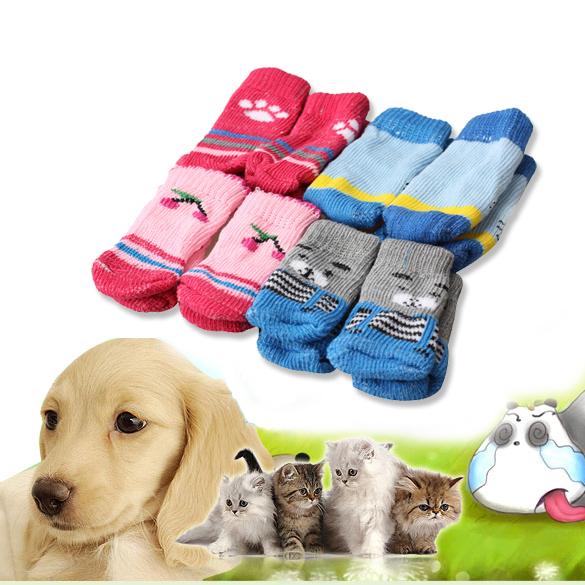 Hot Sale 4Pcs Cute Puppy Dogs Pet Knits Socks Anti Slip Skid E5M1(China (Mainland))