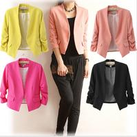 2014 New S M L Korea Women  Blazer Candy Color Solid Slim Fold Sleeve Suit Jacket Blazer Coats