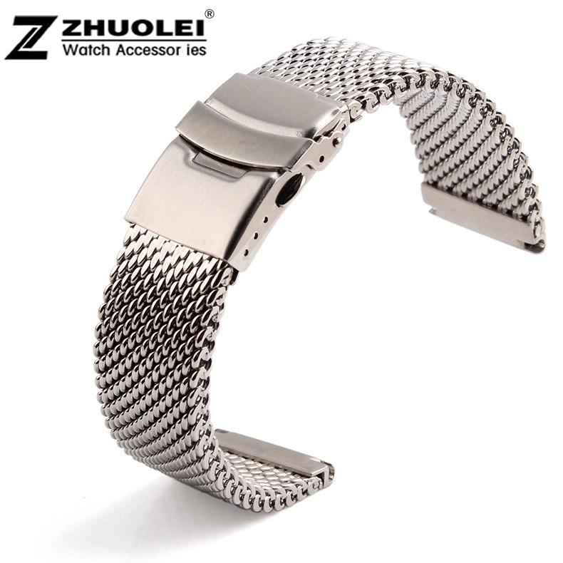 novo terminal largura 24mm prata maciça aço inoxidável malha pulseira relógio banda de malha mergulho fecho banda de substituição(China (Mainland))