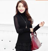 Office Lady Imported Brand Clothes Turtleneck Puff Sleeve Cotton Blouse Elegant Pure Color Bodycon Work Blusas Manga Larga 2879