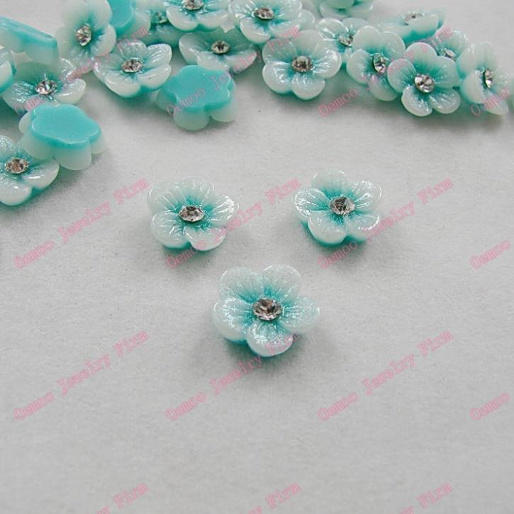 News 3D 12mm 100pcs Flatback Blue flower Resin Cabochon clear crystal Rhinestone decorations Nail Art Accessorie Jewelry DIY 188(China (Mainland))