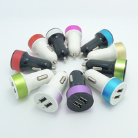 New High Quality Output 5V 2A 1A Double USB Car Charger Contrast Color Adaptor For iPad iPhone Samgung Tablet PC cell phone