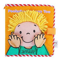 1pc Peekaboo,I Love You,Baby soft cloth book infant first educational toys wholefree shipping