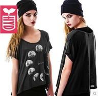Free shipping women t shirt Moon printed short-sleeved round neck cotton short sleeve lady t-shirt