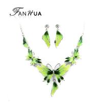 Cute Butterfly Necklace Jewelry Sets Bijouterie Green Pink Blue Enamel Esmalte Drop Earrings Christmas Gifts