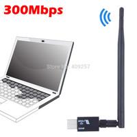 300Mbps 300M Wireless adaptador USB WiFi Wi Fi Wi-Fi Adapter lan card Hotspot dongle External Antenna+WPS button Free Shipping