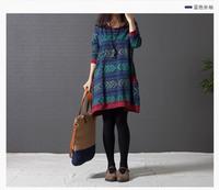free shipping ! 2014 female print cotton linen clothing girl's casual A-line dress women's autumn oversize mini dress