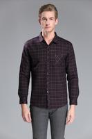 2014 Stylish American New Winter Plus Size Thick Velvet Green Plaid Shirts Cardigan Men's Slim Fit Dress Shirt Men's