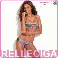 RELLECIGA Digital Printing Women Swimwear Longline Bandeau Top & Sexy Side Ruching Bottom Floral Print Bikini Set Swimsuit