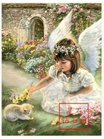 Diy diamond flowers world party drill drill lovely painting an angel girl embroidered diamond drilling and painting30*40cm
