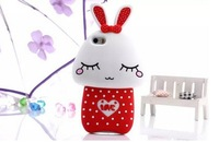 Cute 3D Love Rabbit Shy Rabbit Cartoon Animals Silicone Cover Case For Apple iPhone 5 5S/ 4 4S Cell Phone Case Free Shipping