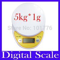 Free shipping 5KG Digital Portable Platform Scale without bowl 5kg 1g, digital scale, kitchen scale ,MOQ=1