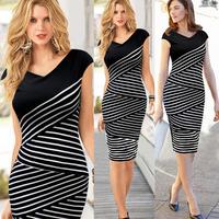 Free Shipping 2014 new summer Women Pinup Celeb Striped Tunic Party Wear To Work Sheath Shift Pencil Dress