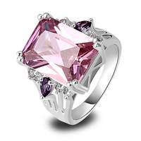 Wholesale 2014 New Fashion Jewelry Charming 925 Silver Ring Inlay Pink Topaz Gift For Women Size 7 9