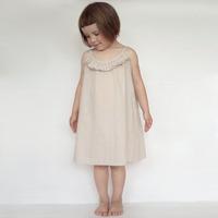 New Quality Classical Children  Clothing Girls  Summer  Sleeveless Europe and America Folds Elegant  Cotton Dress Kids Dress