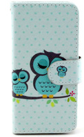 New Case for iPhone 6 (4.7 inch) Cute Eiffel tower Elephant Owl Pattern Flip Leather Shell With Stand Card Slots Free Shipping