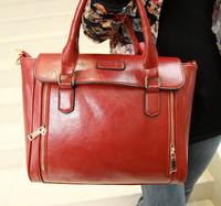 2014 Pure new arrivals handmade woven women's handbag pu Lady Handbag Latest fashion trendly hot lady handbag