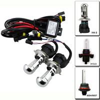 2pcs 55W HID 9004 9007 H4-3 H13-3 Bi xenon Hi/Lo dual beam HID replacement Bulbs 3000K 4300K 6000K 8000K 10000K+ wiring harness