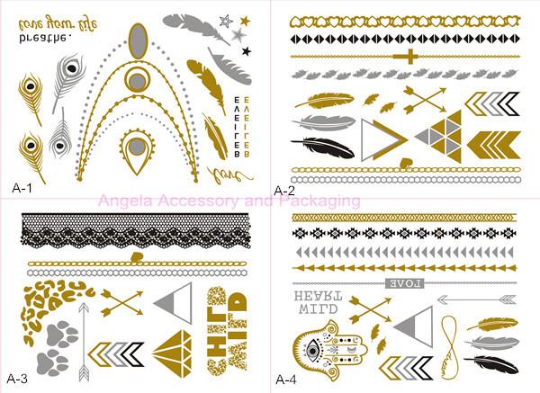 Free DHL/EMS/UPS/FedEx 100pcs/lot Mixed Metallic Flash Tattoos Temporary Gold/Silver Body Jewelry Deco Non-toxic Waterproof(China (Mainland))