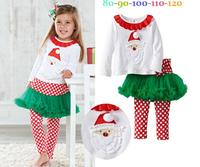 2014 new Christmas 2pc/set new design childrens suit shirt+pants kids clothing baby girls dress cotton white dress
