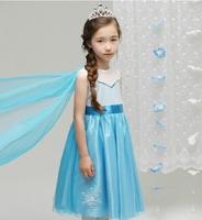 2014 New Summer Frozen Dress Voile Princes Girls Dresses With Cloak Elsa Dress 5 pieces / lot 1218