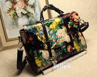 High Quality New European And American Vintage Floral Printing Bag Women Handbag Shoulder Bag Strap Double Arrow Bag