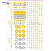 """6""""X8"""" Gold Flash Tattoo Love Peace Infinity Crown Heart Glasses Metallic Gold Tattoo Sticker CT006"""