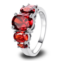 Wholesale 2014 New Fashion Jewelry Pretty 925 Silver Ring Inlay Garnet Gift For Women Size 6 7 8 9 10
