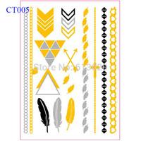 "6""X8"" Gold Flash Tattoo Arrow Feather Cross Gold Silver and Black Metallic Tattoo Sticker CT005"