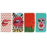 Comic Pattern Leather Mobile Cell Phone Case with Credit Card Slots & Holder for Nokia Lumia 520