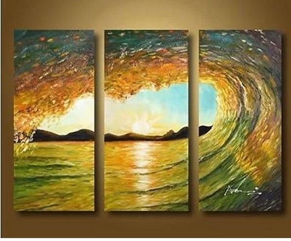 Enorme Handmade Original ondas do mar Art Surf pintura a óleo Seascape(China (Mainland))