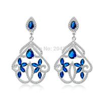 TZ0120-E Designer Wedding Jewelry Earrings Fashion 925 Sterling Silver Jewelry CZ Dangle Earrings 50.9*29.6mm for Women Jewelry