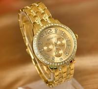 Gold watch stainless steel men wristwatches Geneva man three eye six needle watch strip fashion casual watch