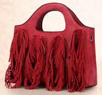 free shipping tassel designer retro style women suede leather tote messenger bag fashion ladies fringed messenger tote bag