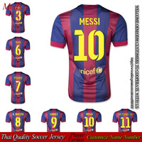 Hot player version red and blue home messi soccer jersey 2014 2015 thai quality suarez football A. INIESTA shirt free shipping