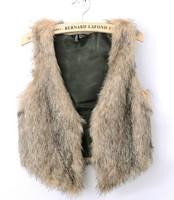 New winter faux fur artificial leather vest sleeveless faux fur vest