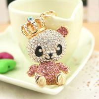 Christmas Gift Full Rhinestone Animal Crown bear Key chain chaveiro metal Keychain Alloy Keyring ,Real Gold Plated ,Nickel free