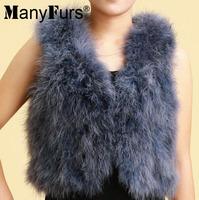 2014 Winter Elegant Natural Ostrich Fur Women Vest Warm Short Style Pure Color Ladies Furs Vests 17 colors