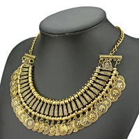 vintage alloy multilayer gold coin tassel necklace pendant for women 2014 fashion newest choker necklace
