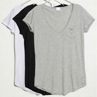 2014 new women's Lady Fashion Solid color v-neck short-sleeved Loose Modal Cotton T-shirt women Trend t-shirts women top Blouse