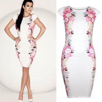 top sale Europe fashion new women print beautiful flower slim dress temperament party clothes short sleeve vestidos 2014 fw-331