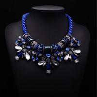 2014 women navy gem crysatl necklaces & pendants rope chain statement flower collar choker necklace jewelry accessories 8654