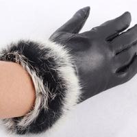 Winter soild leather women fashion handmade pink driving rabbit fur glove women