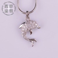 Fashion Lovely dolphins Austria Crystal drop pendant necklace Austrian rhinestone crystal AAA Zircon Jewelry DZ008