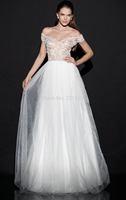 Sexy Mermaid Scoop Short Sleeve White Crystals Beading See Through Evening Dress 2014 Tarik Ediz Prom