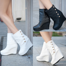Womens Ankle Boots Wedges High Heels Womens Antumn Boots Faux Leather Waterproof Casual Outdoor Ladies Boots Shoes Wholesales (China (Mainland))