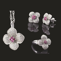 Genuine S925 Silver rose three-piece ring full of diamond pendant earrings craft
