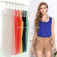 2014 Summer New 6 Size Women Clothing Fashion Chiffon Tank Tops Vest Shirts Solid 15 Candy Color Chiffon Loose Top Shirt