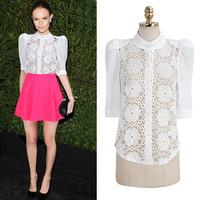 2015 European and American women's summer new fashion chiffon organza collar shirt women stitching